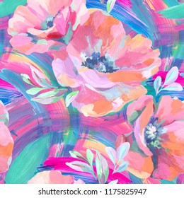 Colorful poppies on abstract brushstrokes background. Acrylic flowers, leaves, paint smears seamless pattern. Hand painted illustration for modern fabric, textile, backdrop etc design