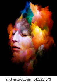 Colorful Portrait. Inner Color series. Interplay of  human face and abstract colors isolated on black background related to art, design and psychology