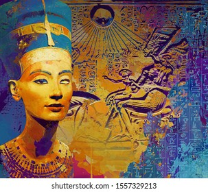 colorful Poster of ancient Egyptian civilization. Queen Nefertiti. ancient Egyptian gods. Egypt hieroglyphic