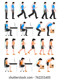 Colorful postures set with man and woman in correct and wrong positions for spine isolated  illustration