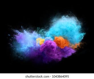 Colorful powder explosion on black background. Freeze motion of powder exploding. Illustration