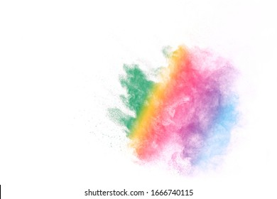 Colorful powder explosion on white background. Colored cloud. Colorful dust explode. Indian festival Holi