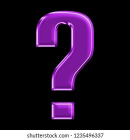 Colorful purple glass question mark sign symbol in a 3D illustration with purple color shiny plastic effect & beveled edge in a rounded bold font type on a black background