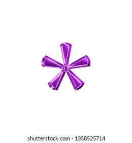 Colorful purple plastic asterisk or star shape symbol in a 3D illustration with purple color shiny glass effect & beveled edge in a classic style font type on white with clipping path