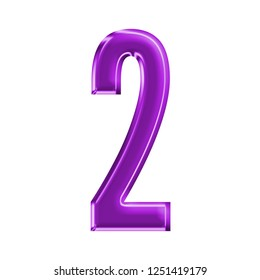 Colorful purple plastic number two 2 in a 3D illustration with purple color shiny glass effect & beveled edge in a gothic style font type on white with clipping path