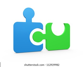 Colorful puzzle pieces integrated into one another on white background.