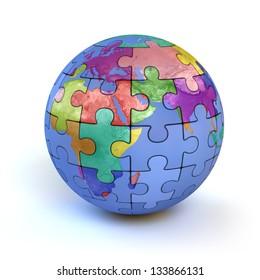 colorful puzzle planet earth - diversity 3d concept