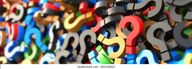 Colorful question marks background. 3D Rendering.