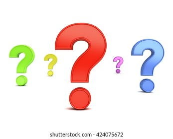 Colorful question marks isolated over white background with shadow. 3D rendering.