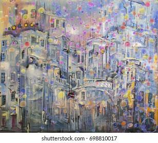 Colorful rain in monochrome city