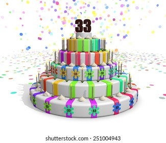 Colorful rainbow cake. Confetti falling down. Decorated with flower candies, candles and cream. On top a chocolate number 33. Ideal for invitations for someones three thirtieth birthday or anniversary