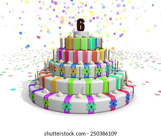 Colorful Rainbow Cake On Top Number Stock Illustration 250389061