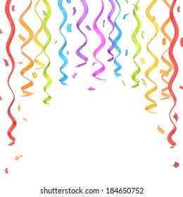 Colorful rainbow colored confetti and serpentine composition as a festive copyspace background, isolated over the white background