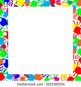 Colorful rainbow frame work with empty copy space for text or image and multicolored handprints border isolated on white background. festive template, photo frame, mockup for invitation design.