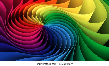 Colorful rainbow helix background. 3d illustration