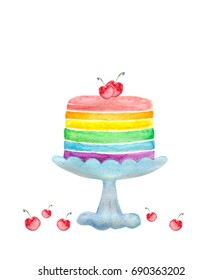 Colorful rainbow layer cake decorated with red cherry in watercolor painting on white background