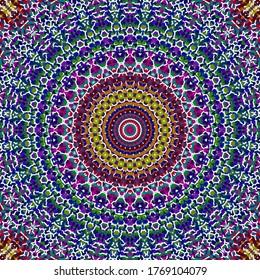 Colorful Rainbow Ornate Mosaic Mandala Art