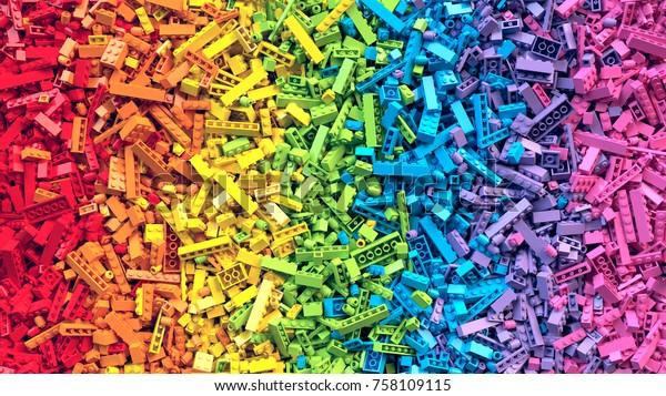 Много красочных радуги игрушки кирпичей фона. Развивающая игрушка для детей. 3D Rendering.