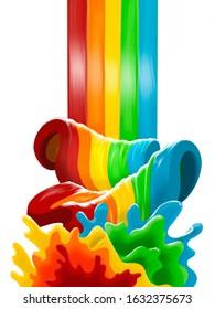 Colorful rainbow waterfall stream splash