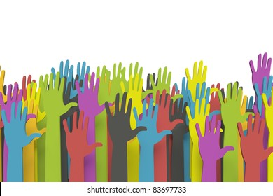 Colorful raised hands with clipping path