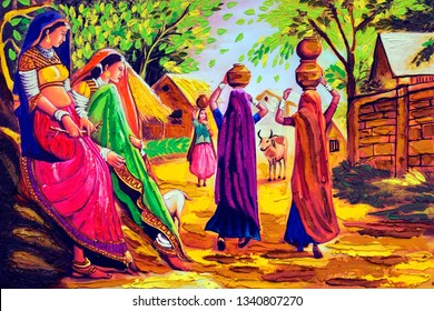 Colorful Rajasthani Village Women carrying drinking water on head texture background canvas oil painting. Modern Art. Multicolored bright texture. Abstract artwork-Illustration