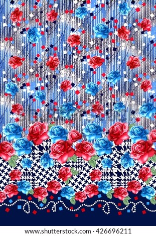 colorful red and blue flowers. cloth fabric. pattern. hounds tooth print.  fashion 9c0a8a280