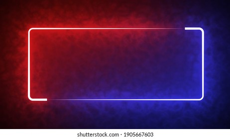 Colorful of red and blue rectangle light blaze with smoke texture pattern abstract effect in black background