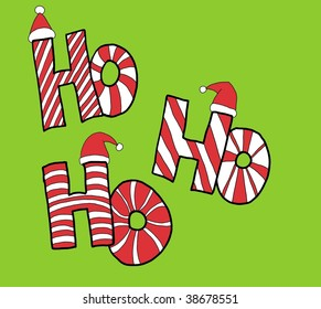 "Colorful Red White and Green Christmas illustration featuring Santa's famous expression - ""Ho Ho Ho"""