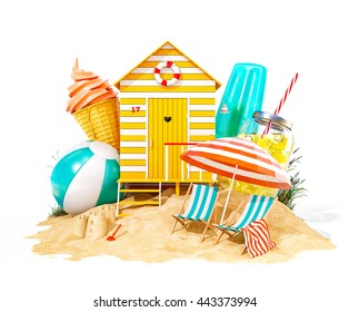 Colorful retro beach hut , lemonade, deck chairs and ice cream on a beach. Unusual summer 3D illustration. Isolated at white background