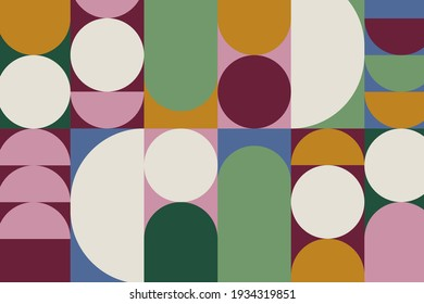 Colorful retro geometric pattern with circle shapes