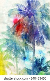 colorful retro colorful watercolor silhouettes of palm trees