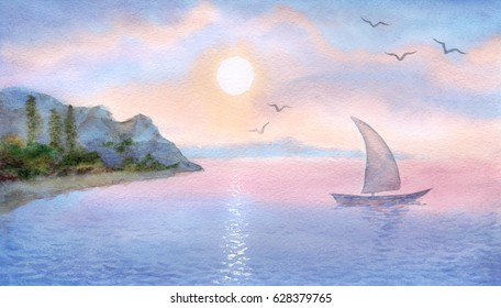 Colorful romantic handmade watercolour on paper backdrop and space for text on pink gloaming heaven. Vivid blue cumulus over light sunlight reservoir. Scenic purple bay at seaboard waterside bank view