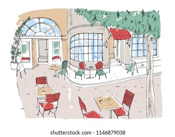 Colorful rough drawing of outdoor cafe, restaurant or coffeehouse with tables and chairs standing on city street beside beautiful building with large panoramic windows. Hand drawn illustration.