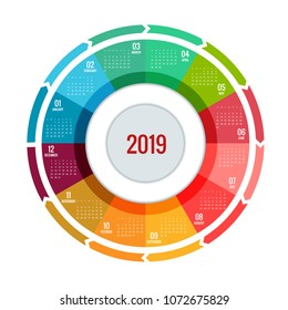 Colorful round calendar 2019 design, Print Template, Your Logo and Text. Week Starts Sunday. Portrait Orientation. 2019 Calendar of 12 Months