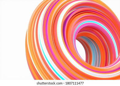 Colorful round geometry, gradient curve background, 3d rendering. Computer digital drawing.