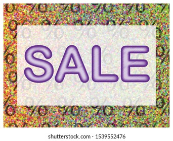 Colorful sale vector illustration, poster, marketing material. Lettering concept with colorful elements for product promotion.