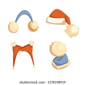 Colorful Santa hats with big pompons and furry earmuffs. Collection of winter headdress, wintertime holiday costume in flat style isolated on white raster