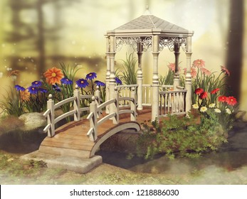 Colorful scene with a fairy gazebo and colorful daisy flowers on a meadow. 3D illustration.