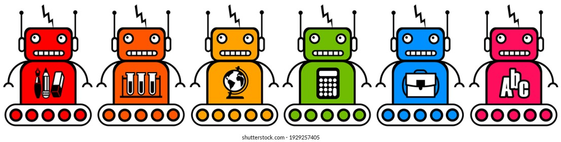 colorful school and education robots