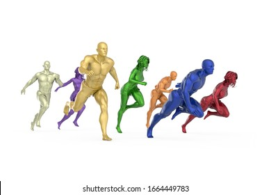 Colorful sculptures of man and woman runners models, front right view, realistic 3D Illustration, isolated on the white background.