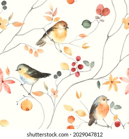 Colorful seamless floral pattern with abstract birds, flowers, leaves and berries. Watercolor garden print, textile or wallpapers with design abstract elements isolated on ivory background.