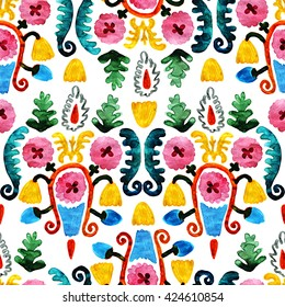 Colorful seamless flowers primitive style. Beautiful floral pattern on white background. Detailed oriental hand-drawn watercolor illustration.