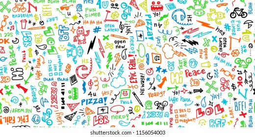 Colorful seamless hand drawn school note doodles pattern with robots, headphones, pizza, and funny phrases. Great for teachers, classrooms, children, students, backgrounds, paper, scrapbooking, fabric