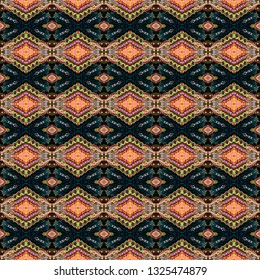 Colorful seamless ikat Persian Carpet. Ethnic texture abstract ornament. Mexican Traditional Carpet Fabric Texture. Arabic,turkish carpet ornament. African textures and traditional motifs, vintage.
