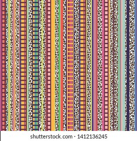 Colorful seamless mexican folk and animal pattern, serape stripes background