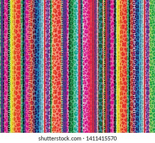 Colorful seamless mexican style and leopard pattern, serape stripes background