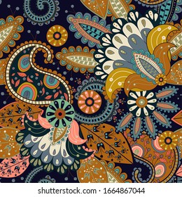 Colorful seamless Paisley pattern. Floral indian wallpaper. Decorative flowers, plants. Indonesian batik. Asian floral background. Design for textile, cover, backdrop, wrapping paper