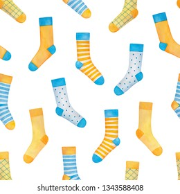 Colorful seamless pattern with cute blue and yellow fun socks. Handdrawn watercolour sketchy painting for scrapbooking, wallpaper, greeting card, baby shower, father's day, gift wrapping paper, tags.