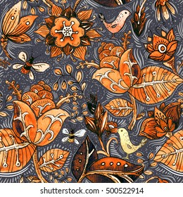 Colorful seamless pattern. Floral wallpaper. Illustration with plant, flowers, birds. Hand drawn pattern. Nature pattern