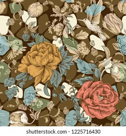 Colorful seamless pattern with flowers. Floral wallpaper for web, cover, wrapping paper, fabric, textile